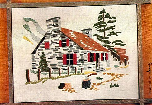 A beautiful scene of a house and tree behind it Crewel Art