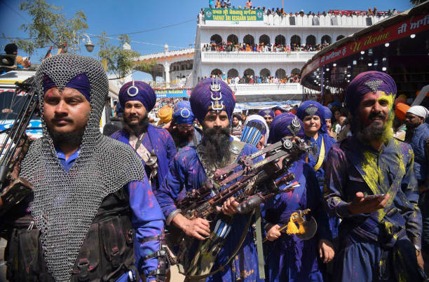 ANANDPUR SAHIB, INDIA - MARCH 13: Lakhs of devotees and Nihangs visited Anandpur Sahib and Kiratpur Sahib during the Three-day Hola Mohalla festival to pay their obiesance at various gurdwaras including Takht Sri Kesgarh Sahib on March 13, 2017 in Anandpur Sahib, India.(Photo by Sanjeev Sharma/Hindustan Times via Getty Images)